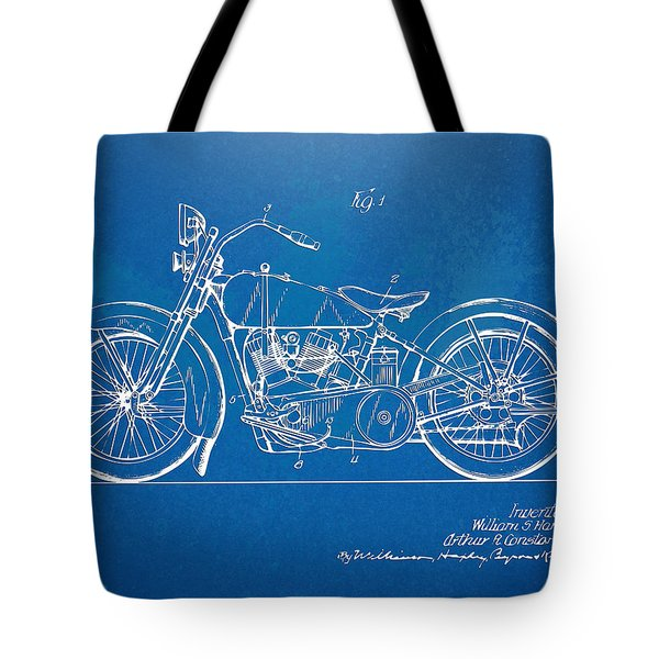 Harley-davidson Motorcycle 1928 Patent Artwork Tote Bag by Nikki Marie Smith