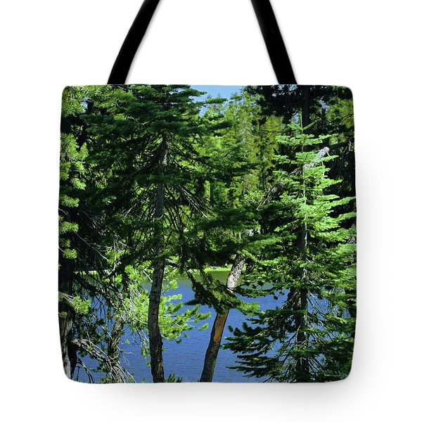 Harmony In Green And Blue - Manzanita Lake - Lassen Volcanic National Park Ca Tote Bag by Christine Till