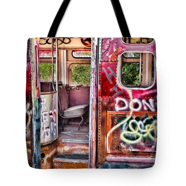 Haunted Graffiti Art Bus Tote Bag by Susan Candelario