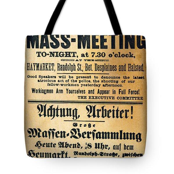Haymarket Handbill, 1886 Tote Bag by Granger