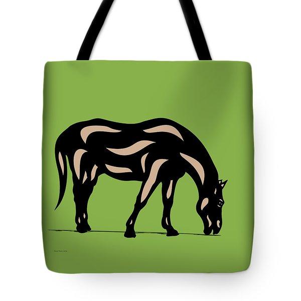 Hazel - Pop Art Horse - Black, Hazelnut, Greenery Tote Bag by Manuel Sueess