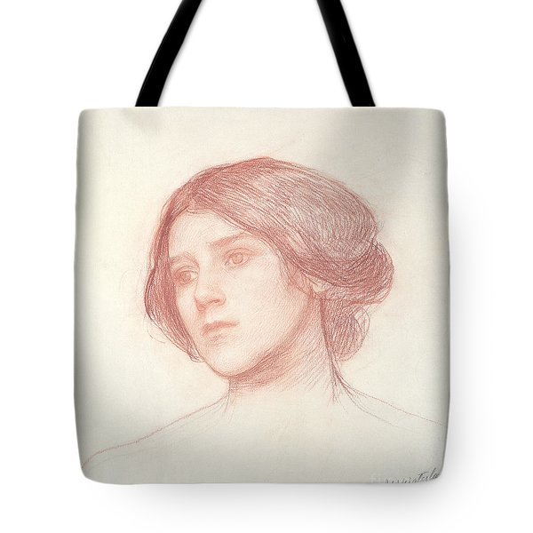 Head Of A Girl Tote Bag by John William Waterhouse