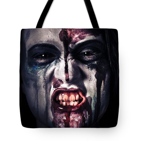 Head Shot On A Pure Evil Zombie Girl Tote Bag by Jorgo Photography - Wall Art Gallery