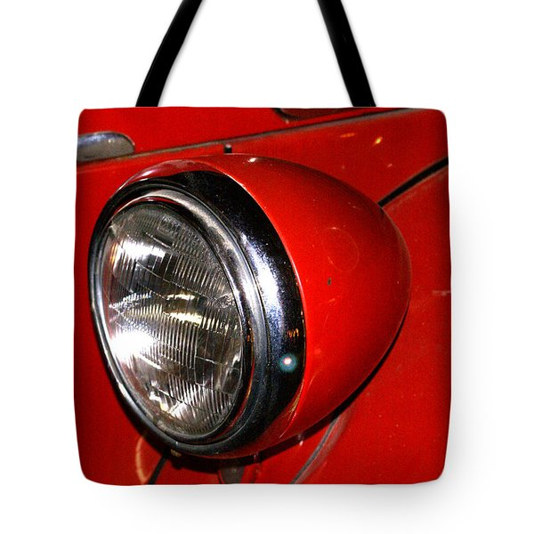 Headlamp On Antique Fire Engine Tote Bag by Douglas Barnett