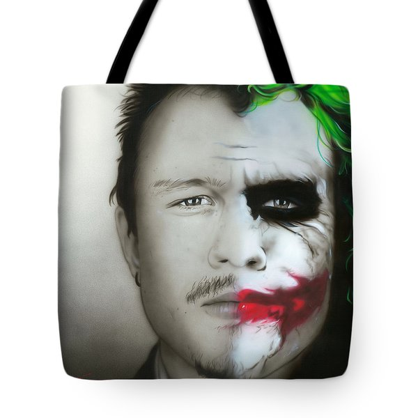 ' Heath Ledger / Joker ' Tote Bag by Christian Chapman Art