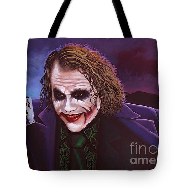 Heath Ledger As The Joker Painting Tote Bag by Paul Meijering