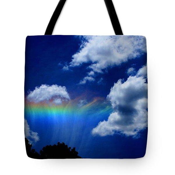 Heavens Rainbow Tote Bag by Linda Sannuti