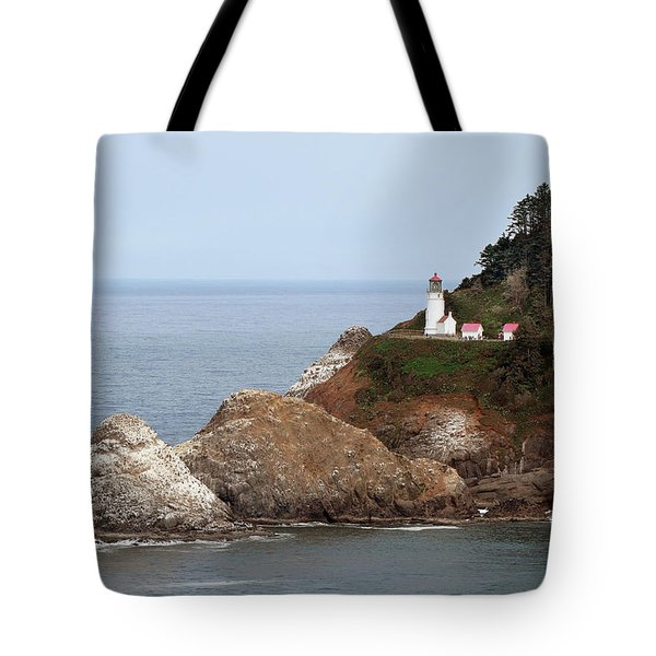 Heceta Head Lighthouse - Oregon's Scenic Pacific Coast Viewpoint Tote Bag by Christine Till