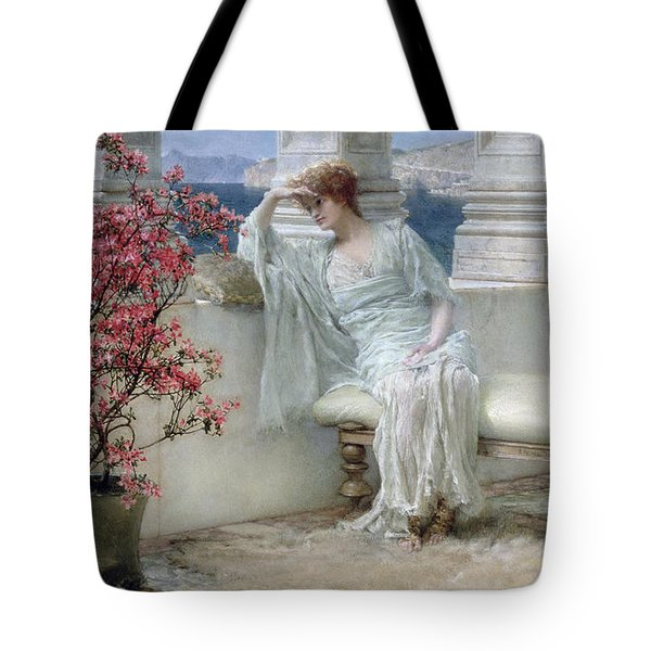 Her Eyes Are With Her Thoughts And They Are Far Away Tote Bag by Sir Lawrence Alma-Tadema