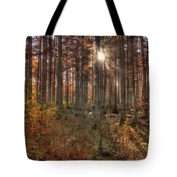 Heron Pond Cypress Trees Tote Bag by Steve Gadomski