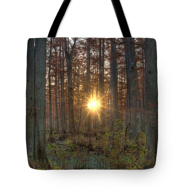 Heron Pond Sunrise Tote Bag by Steve Gadomski