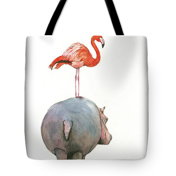 Hippo With Flamingo Tote Bag by Juan Bosco