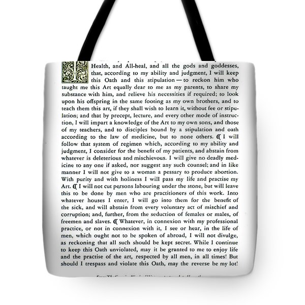 Hippocratic Oath, 1938 Tote Bag by Science Source