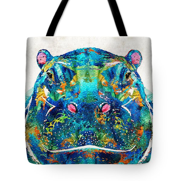 Hippopotamus Art - Happy Hippo - By Sharon Cummings Tote Bag by Sharon Cummings