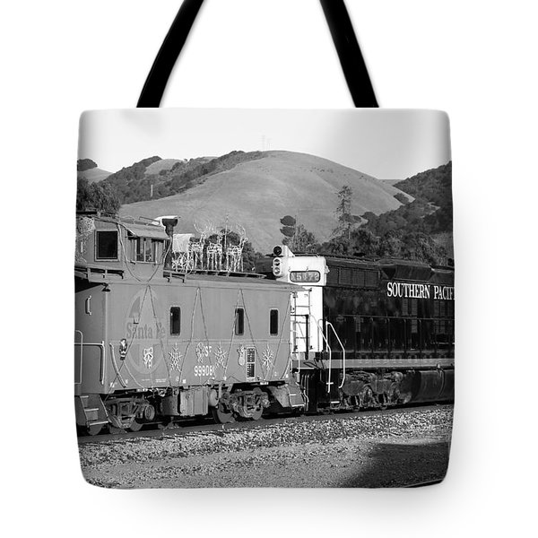 Historic Niles Trains in California . Southern Pacific Locomotive and Sante Fe Caboose.7D10843.bw Tote Bag by Wingsdomain Art and Photography