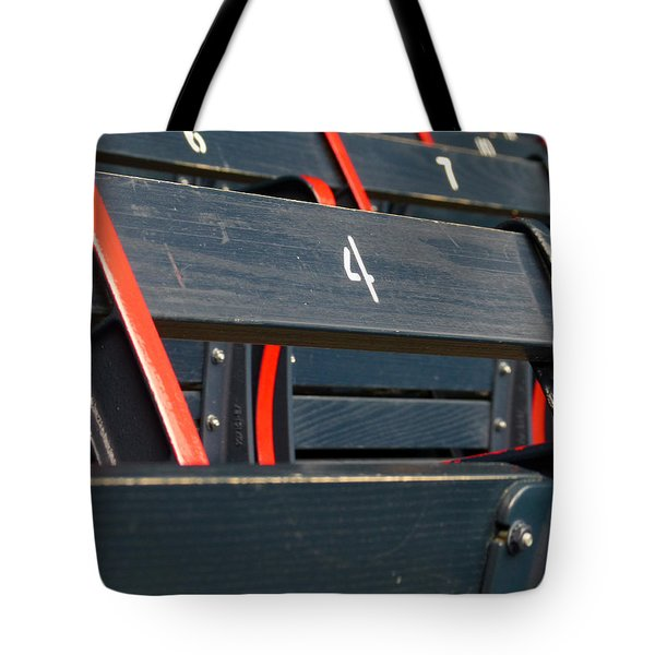 Historical Wood Seating at Boston Fenway Park Tote Bag by Juergen Roth