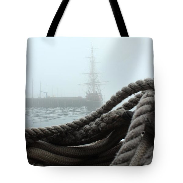 HMS Bounty In The Eastport Fog Tote Bag by Rick  Blood