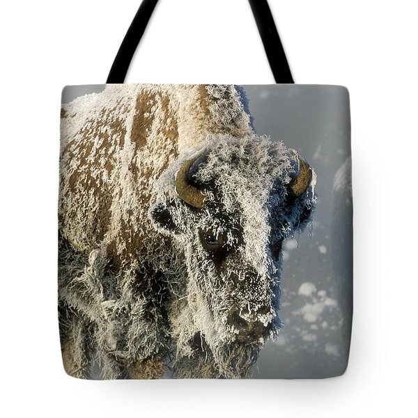 Hoarfrosted Bison In Yellowstone Tote Bag by Sandra Bronstein
