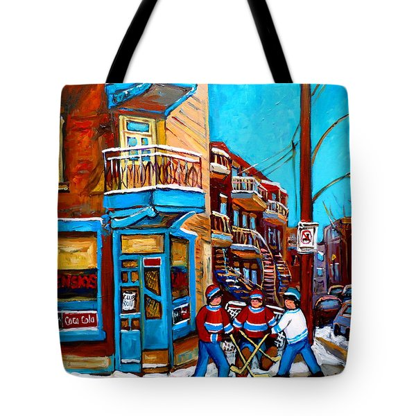 Hockey At Wilensky's Diner Montreal Tote Bag by Carole Spandau