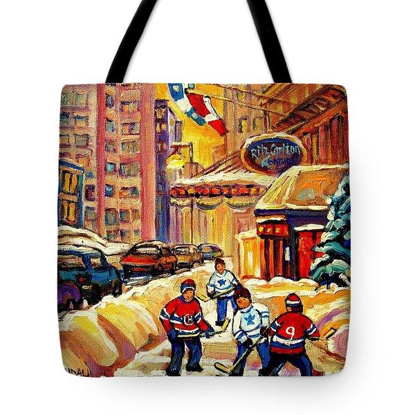 Hockey Fever Hits Montreal Bigtime Tote Bag by Carole Spandau