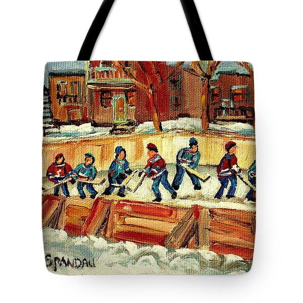 Hockey Rinks In Montreal Tote Bag by Carole Spandau