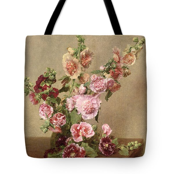 Hollyhocks Tote Bag by Ignace Henri Jean Fantin Latour