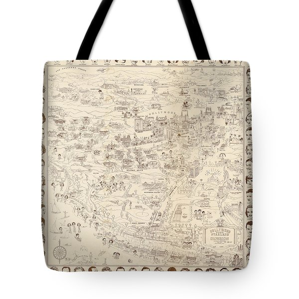 Hollywood Map To The Stars 1937 Tote Bag by Don Boggs