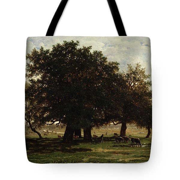 Holm Oaks Tote Bag by Pierre Etienne Theodore Rousseau