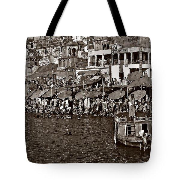 Holy Ganges Monochrome Tote Bag by Steve Harrington