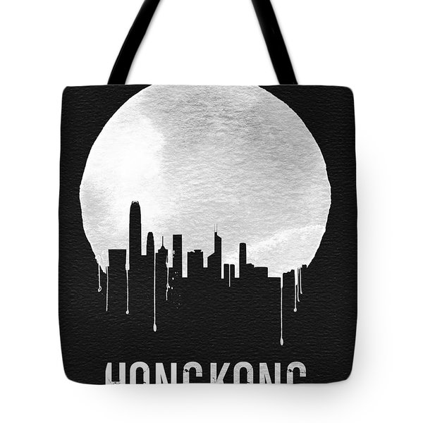 Hong Kong Skyline Black Tote Bag by Naxart Studio