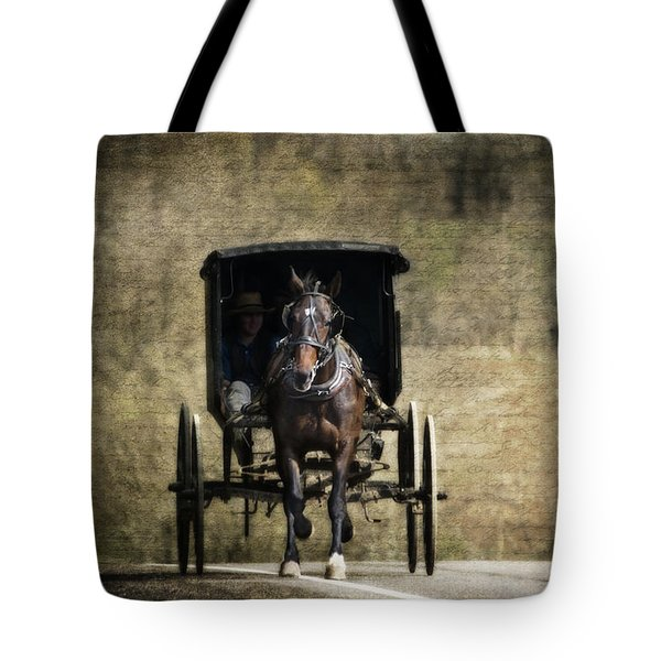 Horse And Buggy Tote Bag by Tom Mc Nemar