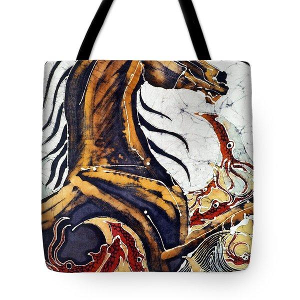 Horse Dances In Sea With Squid Tote Bag by Carol Law Conklin