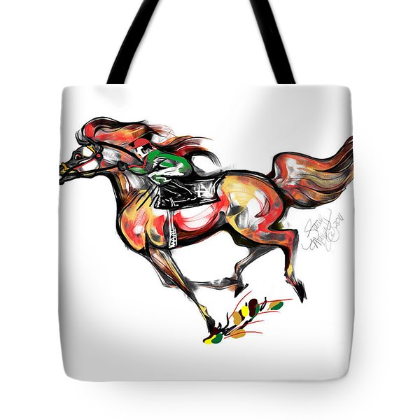 Horse Racing In Fast Colors Tote Bag by Stacey Mayer