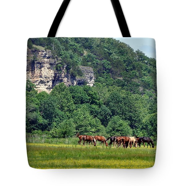 Horses On The Rubideaux Tote Bag by Marty Koch