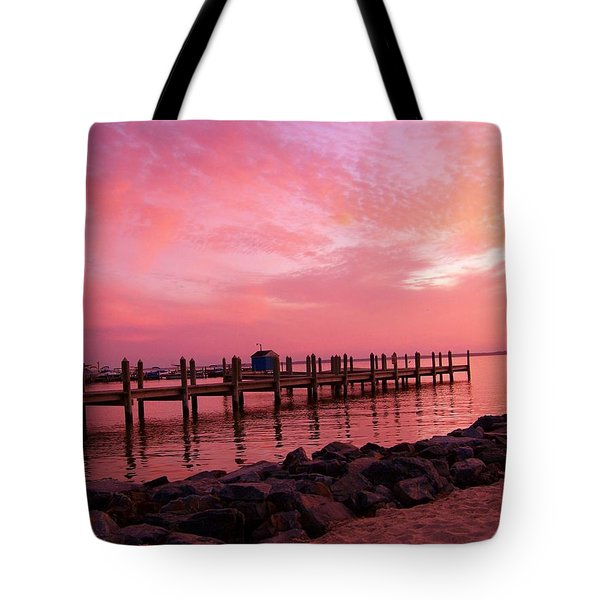 Hot Bay Sunset Tote Bag by Trish Tritz