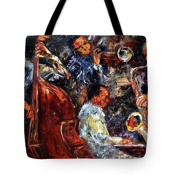 Hot Jazz Three Tote Bag by Debra Hurd