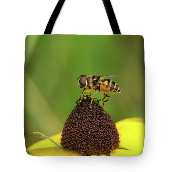 Hoverfly On Brown Eyed Susan Tote Bag by Michael Peychich
