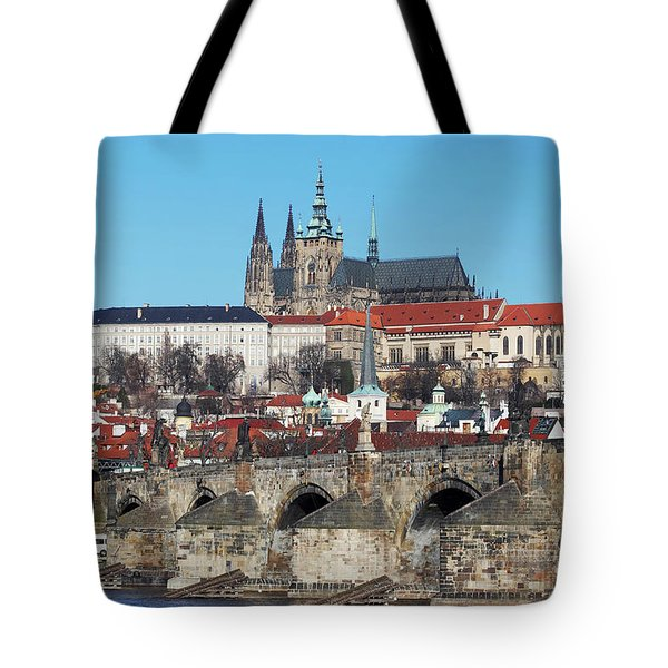 Hradcany - cathedral of St Vitus and Charles bridge Tote Bag by Michal Boubin