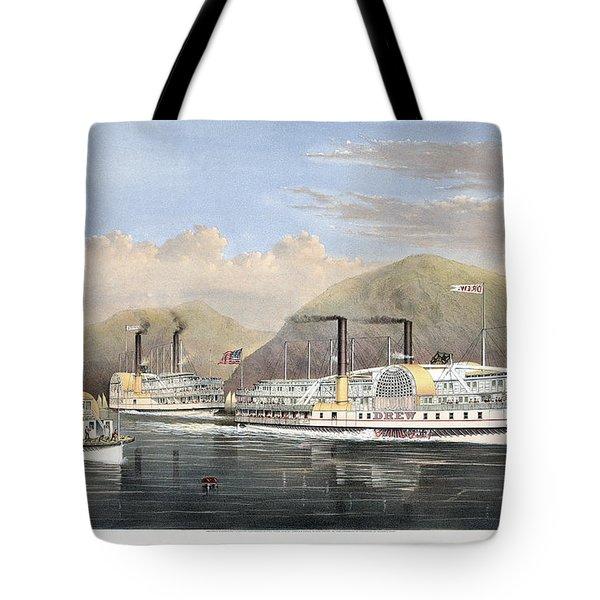 Hudson River Steamships Tote Bag by Granger