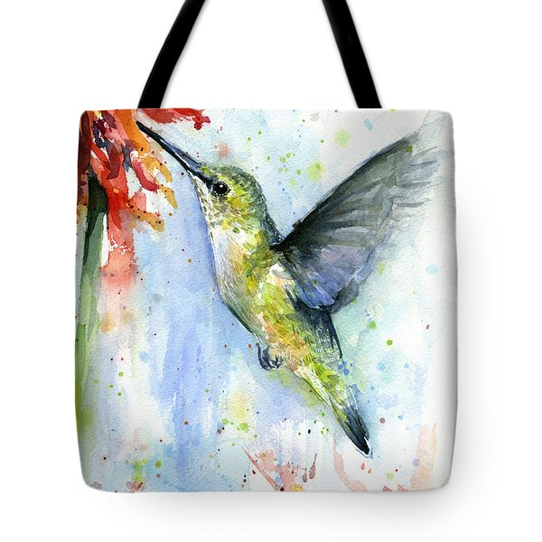 Hummingbird And Red Flower Watercolor Tote Bag by Olga Shvartsur