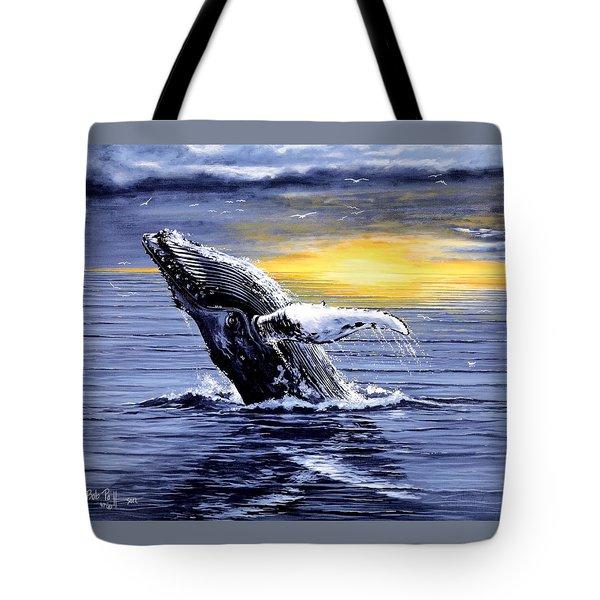 Humpback Whale Breaching Tote Bag by Bob Patterson
