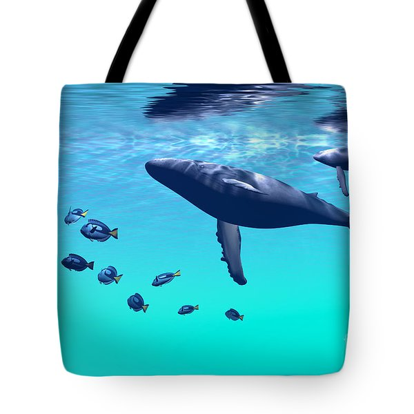 Humpback Whales Tote Bag by Corey Ford