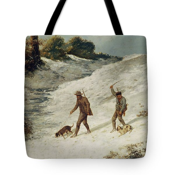 Hunters In The Snow Or The Poachers Tote Bag by Gustave Courbet