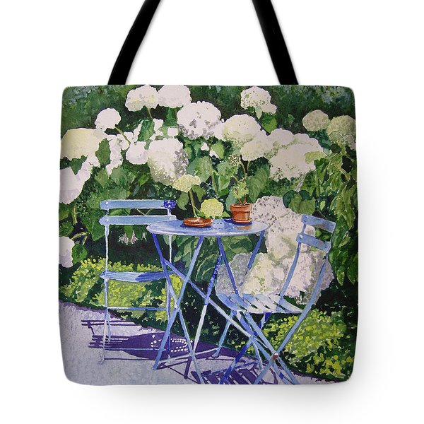 Hydrangeas At Angele Tote Bag by Gail Chandler