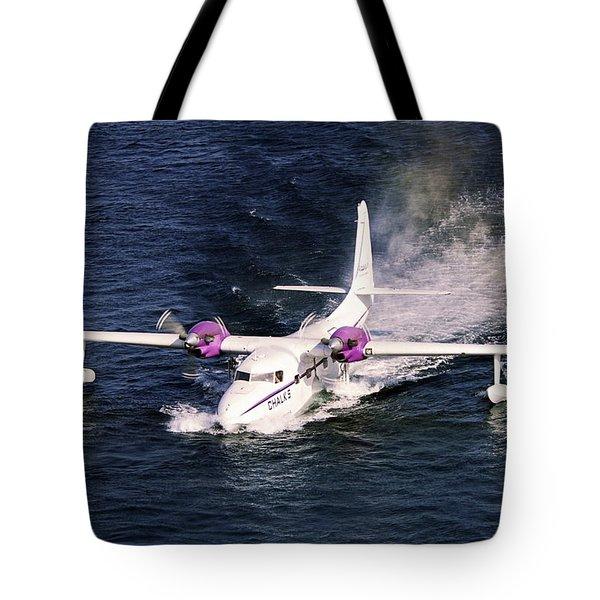 Hydroplane Splashdown Tote Bag by Sally Weigand