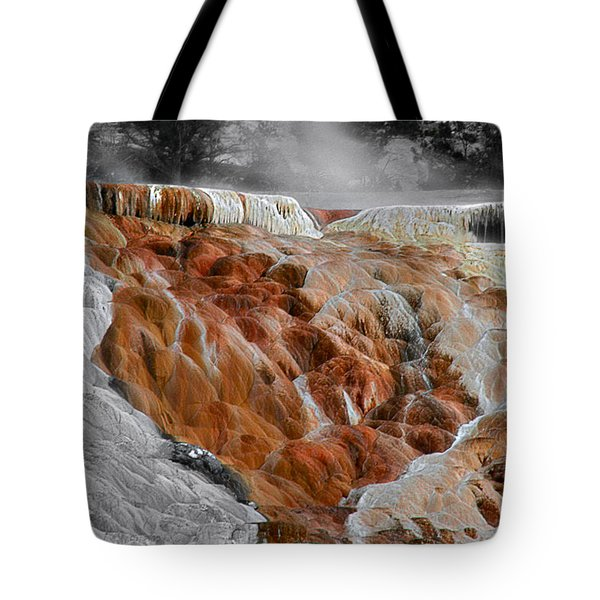Hymen Terrace Mammoth Hot Springs Yellowstone Park Wy Tote Bag by Christine Till