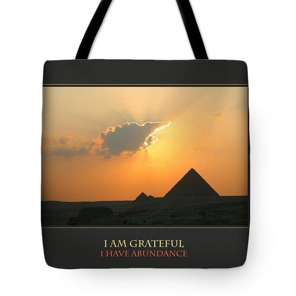 I Am Grateful I Have Abundance Tote Bag by Donna Corless