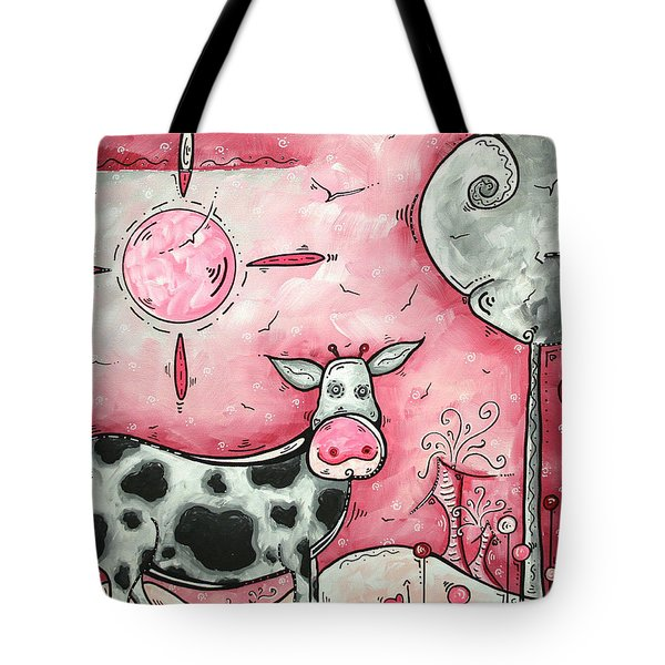 I Love Moo Original Madart Painting Tote Bag by Megan Duncanson