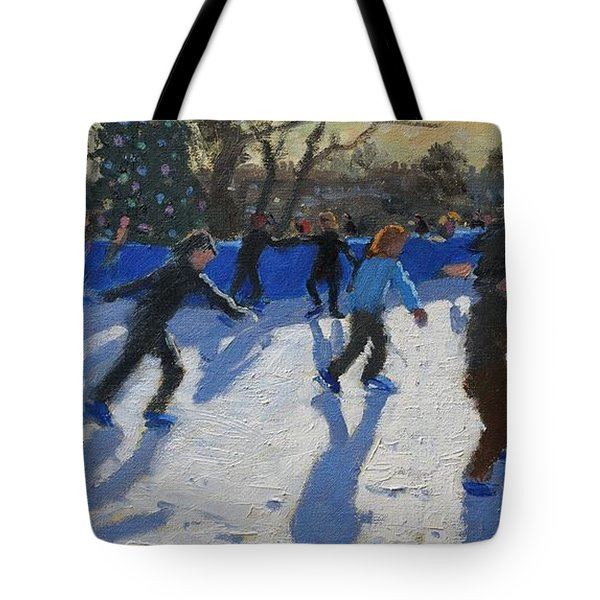 Ice Skaters At Christmas Fayre In Hyde Park  London Tote Bag by Andrew Macara