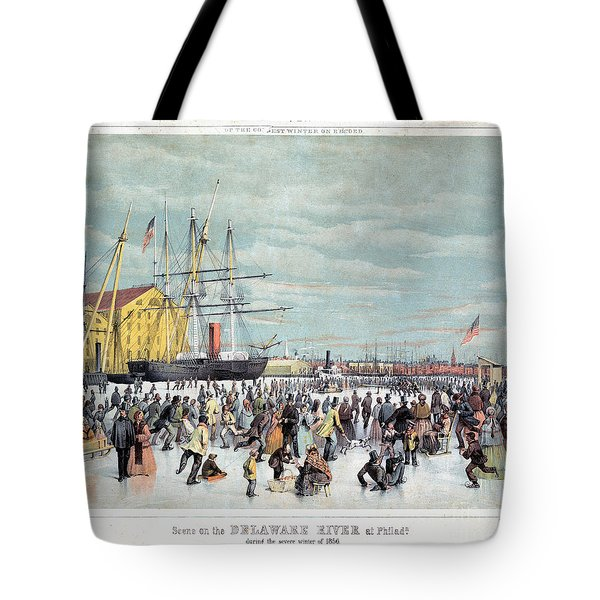 Ice Skaters, C1856 Tote Bag by Granger